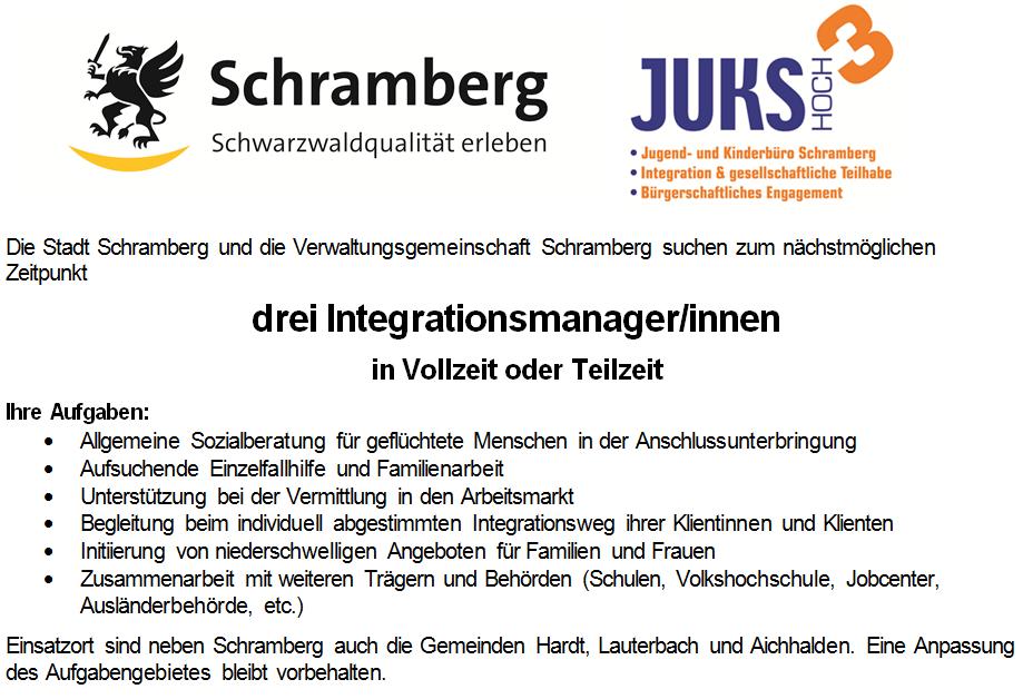 Stellenausschreibung Integrationsmanager