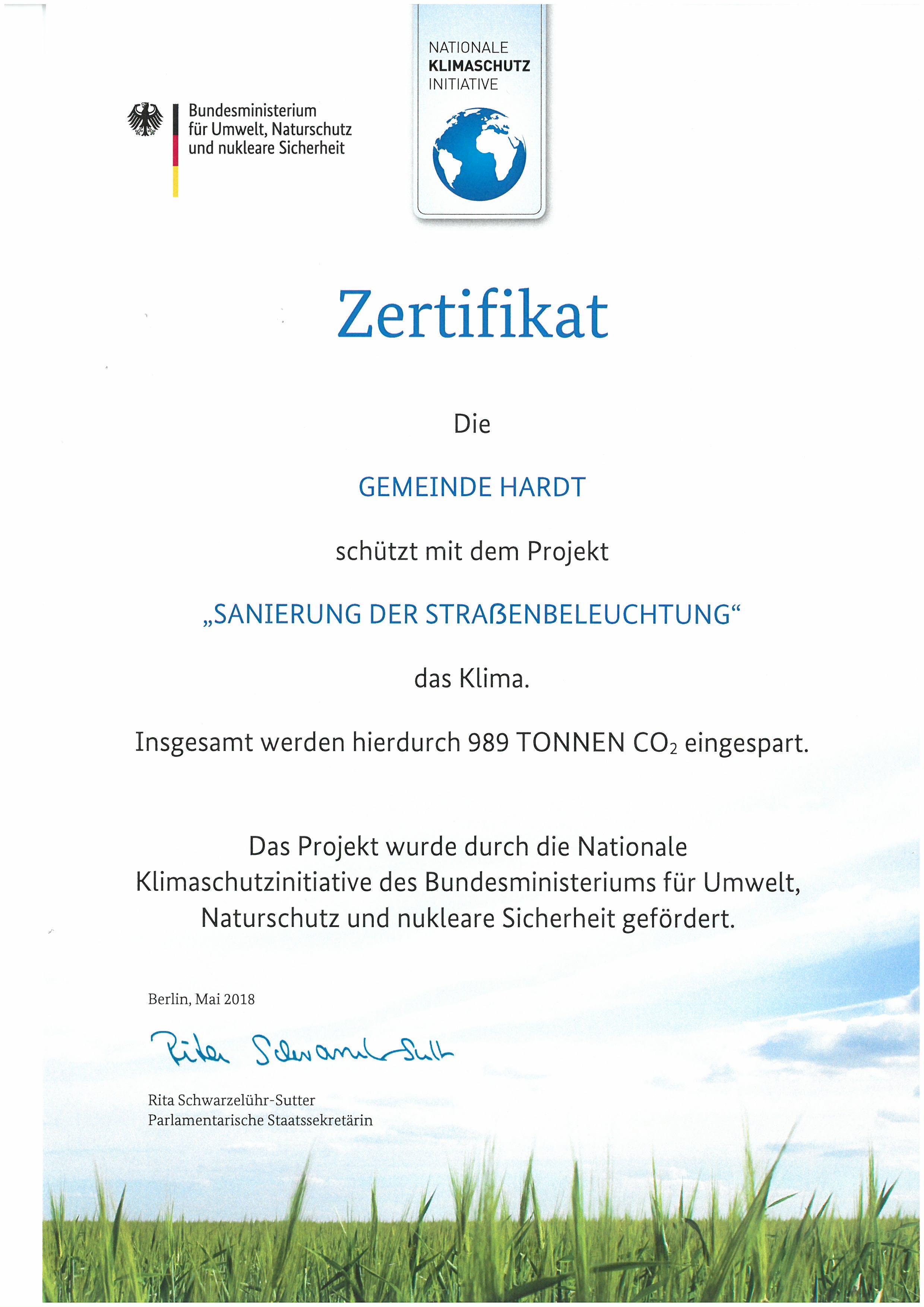 Zertifikat Strassenbeleuchtung LED