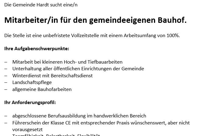 Stelllenausschreibung Bauhof