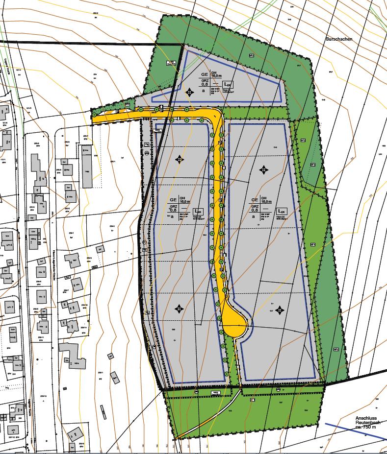 Bebauungsplan-Entwurf Gewerbegebiet 2 Nord